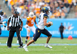 Sep 1, 2018; Charlotte, NC, USA; West Virginia Mountaineers wide receiver David Sills V (13) catches a pass during the first quarter against the Tennessee Volunteers at Bank of America Stadium. Mandatory Credit: Ben Queen-USA TODAY Sports
