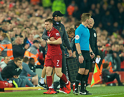 LIVERPOOL, ENGLAND - Wednesday, February 27, 2019: Liverpool's manager Jürgen Klopp embraces captain James Milner after he is substituted during the FA Premier League match between Liverpool FC and Watford FC at Anfield. (Pic by Paul Greenwood/Propaganda)