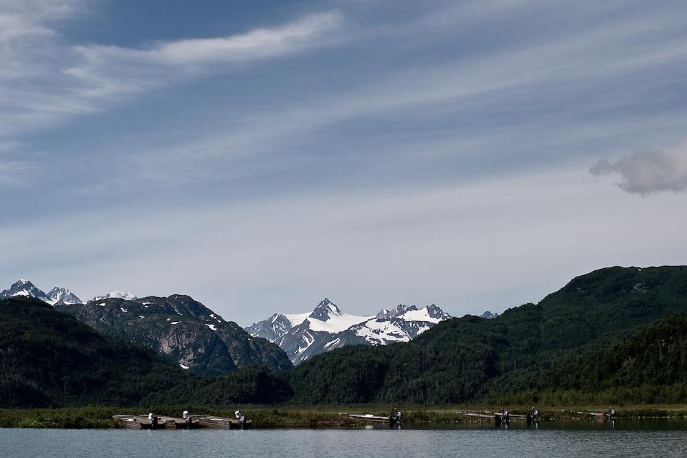 Fishing skiffs sit idle near Redoubt Bay, Alaska.