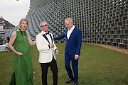 JULIA PEYTON-JONES; TOMMY HILFIGER; HANS ULRICH OBRIST;  2016 SERPENTINE SUMMER FUNDRAISER PARTY CO-HOSTED BY TOMMY HILFIGER. Serpentine Pavilion, Designed by Bjarke Ingels (BIG), Kensington Gardens. London. 6 July 2016