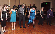 Christina Cook (far left,) from Brookville and Angela Nguyen (2nd from left,) from Dayton are among the group getting one on one dance instruction from Gina Stough (fourth from left) at the 17th Artemis Center Gala, Saturday night.