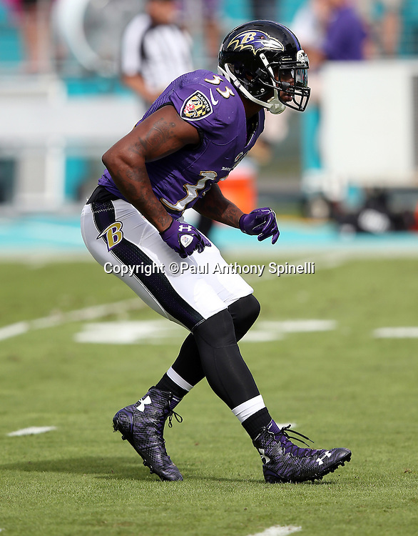 Baltimore Ravens strong safety Will Hill (33) drops back in pass coverage during the 2015 week 13 regular season NFL football game against the Miami Dolphins on Sunday, Dec. 6, 2015 in Miami Gardens, Fla. The Dolphins won the game 15-13. (©Paul Anthony Spinelli)