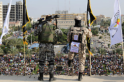 October 21, 2016 - Gaza City, Gaza Strip, Palestinian Territory - Palestinian Islamic Jihad militants stand guard on a roof during a rally marking the 29th anniversary of the movement foundation in Gaza City October 21, 2016  (Credit Image: © Mohammed Asad/APA Images via ZUMA Wire)