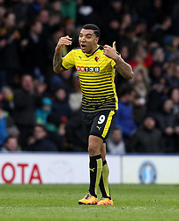 Troy Deeney of Watford celebrates and encourages his teammates after scoring a late consolation goal - Mandatory byline: Robbie Stephenson/JMP - 19/03/2016 - FOOTBALL - Vicarage Road - Watford, England - Crystal Palace v Leicester City - Barclays Premier League
