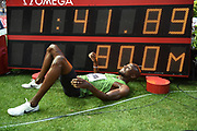 Nijel Amos (BOT) poses with the scoreboard after winning the 800m in a meet record 1:41.89 during the Herculis Monaco in an IAAF Diamond League meet at Stade Louis II stadium in Fontvieille, Monaco on Friday, July 12, 2019. (Jiro Mochizukii/Image of Sport)