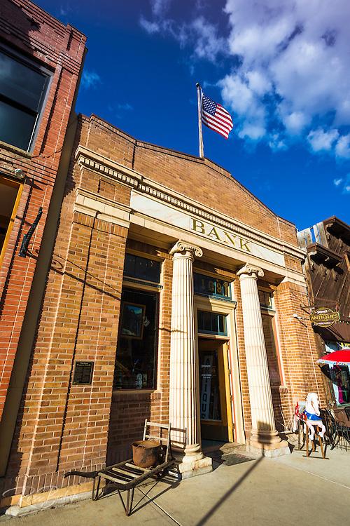 Historic bank building, downtown Telluride, Colorado USA