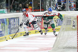 21.12.2014, Curt-Fenzel-Stadion, Augsburg, GER, DEL, Augsburger Panther vs Eisbaeren Berlin, 29. Runde, im Bild l-r: im Zweikampf, Aktion, mit Laurin Braun #12 (Eisbaeren Berlin) und Brett Breitkreuz #29 (Augsburger Panther) // during Germans DEL Icehockey League 29th round match between Augsburger Panther and Eisbaeren Berlin at the Curt-Fenzel-Stadion in Augsburg, Germany on 2014/12/21. EXPA Pictures © 2014, PhotoCredit: EXPA/ Eibner-Pressefoto/ Kolbert<br /> <br /> *****ATTENTION - OUT of GER*****