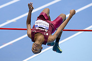 Mutaz Essa Barshim of Qatar competes in men's high jump qualification during the IAAF Athletics World Indoor Championships 2014 at Ergo Arena Hall in Sopot, Poland.<br /> <br /> Poland, Sopot, March 8, 2014.<br /> <br /> Picture also available in RAW (NEF) or TIFF format on special request.<br /> <br /> For editorial use only. Any commercial or promotional use requires permission.<br /> <br /> Mandatory credit:<br /> Photo by © Adam Nurkiewicz / Mediasport