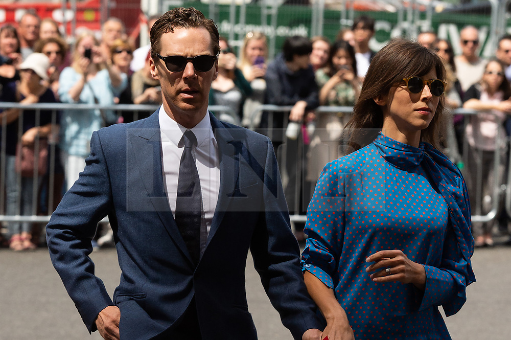 © Licensed to London News Pictures. 15/06/2018. London, UK.  Benedict Cumberbatch (i) and wife Sophie Hunter attends the memorial service for Professor Stephen Hawkin at Westminister Abbey. Photo credit: Ray Tang/LNP