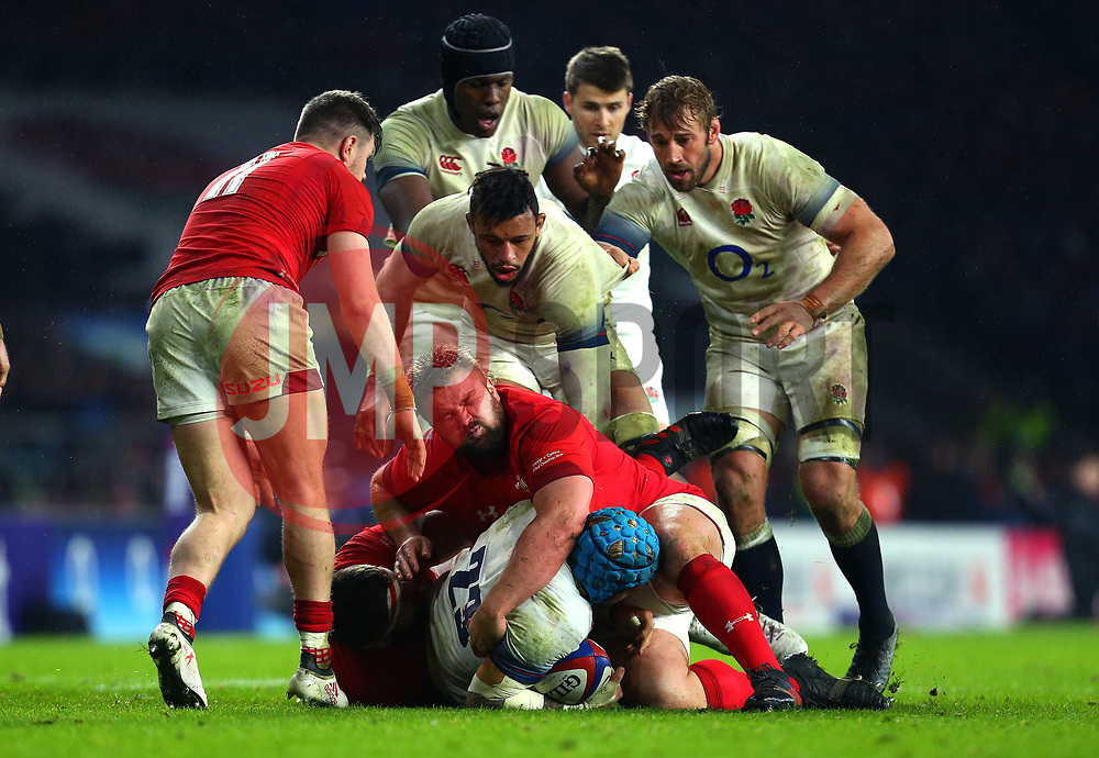 Tomas Francis of Wales tackles Jack Nowell of England - Mandatory by-line: Robbie Stephenson/JMP - 10/02/2018 - RUGBY - Twickenham Stoop - London, England - England v Wales - Women's Six Nations