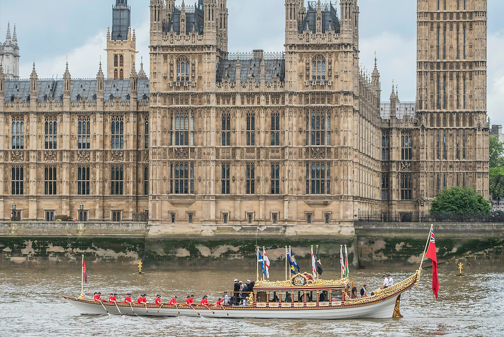 The Royal Barge Gloriana leads the flottilla on the River Thames - Queens 90th birthday was celebrated by the traditional Trooping the Colour as well as a flotilla on the river Thames.