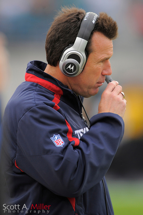 Dec. 6, 2009; Jacksonville, FL, USA; Houston Texans coach Gary Kubiak during the Texans game against the Jacksonville Jaguars at Jacksonville Municipal Stadium. ©2009 Scott A. Miller