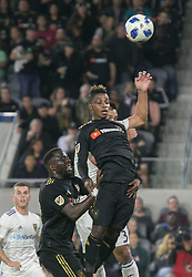 November 1, 2018 - Los Angeles, California, U.S - Latif Blessing #7 of the LAFC goes for a header during their MLS playoff game with the Real Salt Lake on Thursday November 1, 2018 at Banc of California Stadium in Los Angeles, California. LAFC vs Real Salt Lake. (Credit Image: © Prensa Internacional via ZUMA Wire)