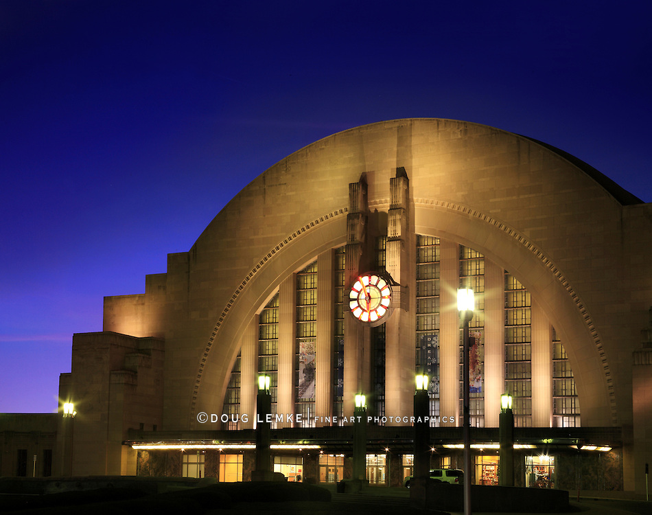 The Cincinnati Museum Center And Union Terminal Train Station At Night, Cincinnati Ohio, USA
