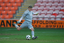 BLACKPOOL, ENGLAND - Wednesday, March 3, 2011: Liverpool's goalkeeper Martin Hansen in action against Blackpool during the FA Premiership Reserves League (Northern Division) match at Bloomfield Road. (Photo by David Rawcliffe/Propaganda)