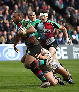 London - Saturday April 3rd, 2010: Jordan Turner-Hall of Harlequins is tackled during the Guinness Premiership match between Harlequins and Newcastle at the Twickenham Stoop, London. (Pic by Andrew Tobin/Focus Images)