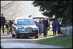 The Queen leave's without receiving flowers from children after attending the Church service on the Sandringham estate, Sandringham, Norfolk, United Kingdom. Sunday, 29th December 2013. Picture by Andrew Parsons / i-Images