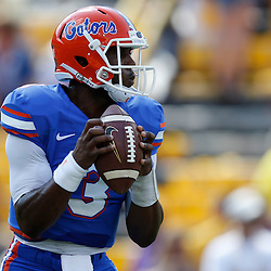 Oct 12, 2013; Baton Rouge, LA, USA; Florida Gators quarterback Tyler Murphy (3) against the LSU Tigers prior to a game at Tiger Stadium. Mandatory Credit: Derick E. Hingle-USA TODAY Sports