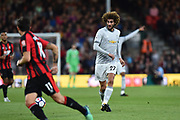 Marouane Fellaini (27) of Manchester United passes the ball during the Premier League match between Bournemouth and Manchester United at the Vitality Stadium, Bournemouth, England on 18 April 2018. Picture by Graham Hunt.
