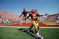 5 September 2009: #21 Allen Bradford celebrates  a touchdown in the endzone with teammates during the University Southern California USC Trojans Pac-10 college football team during a 56-3 victory over the WAC San Jose State Spartans at the Los Angeles Memorial Coliseum in Southern California.  #9 Davis Ausberry jumps in the background.