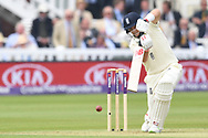 Joe Root (capt) of England drives on Day One of the NatWest Test Match match at Lord's, London<br /> Picture by Simon Dael/Focus Images Ltd 07866 555979<br /> 24/05/2018