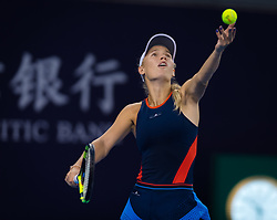 October 4, 2018 - Beijing, China - Caroline Wozniacki of Denmark in action during her third-round match at the 2018 China Open WTA Premier Mandatory tennis tournament. (Credit Image: © AFP7 via ZUMA Wire)