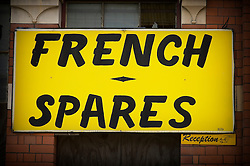 French car spares sign, Leicester, England, UK.