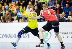 Janez Gams of RK Gorenje vs Julian Krieg of Winterthur during handball match between RK Gorenje Velenje (SLO) and Pfadi Winterthur (SUI) in Group Phase of EHF European Cup 2014/15, on March 8, 2015 in Rdeca dvorana, Velenje, Slovenia. Photo by Vid Ponikvar / Sportida