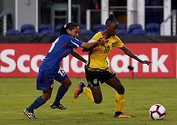 October 12, 2018 - Edinburgh, Scotland, United Kingdom - Edinburg, NC - OCTOBER 11: 2018.Jody Brown of Jamaica hold of Zallin Rodriguez of Cuba.During CONCACAF Women's Championship Group B match between Cuba against Jamaica at H-E-BPark Stadium, Edinburg,  on October 11, 2018  (Credit Image: © Action Foto Sport/NurPhoto via ZUMA Press)