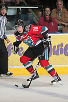 KELOWNA, CANADA - NOVEMBER 9:  Cody Fowlie #18 of the Kelowna Rockets skates with the puck against the Red Deer Rebels at the Kelowna Rockets on November 9, 2012 at Prospera Place in Kelowna, British Columbia, Canada (Photo by Marissa Baecker/Shoot the Breeze) *** Local Caption ***