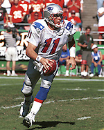New England Patriot quarterback Drew Bledsoe during game action against the Kansas City Chiefs at Arrowhead Stadium in Kansas City, Missouri on October 10, 1999.