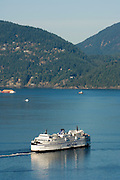 A Ferry leaves Horseshoe Bay, West Vancouver, BC, Canada.
