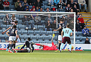 30th September 2017, Dens Park, Dundee, Scotland; Scottish Premier League football, Dundee versus Hearts; Dundee goalkeeper Scott Bain pulls off a great save to deny Hearts' Manuel Milinkovic
