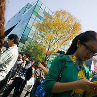 BEIJING, OCT. 6 : Chinese gather outside the  Apple Store in Beijing in memorial for Steve Jobs .