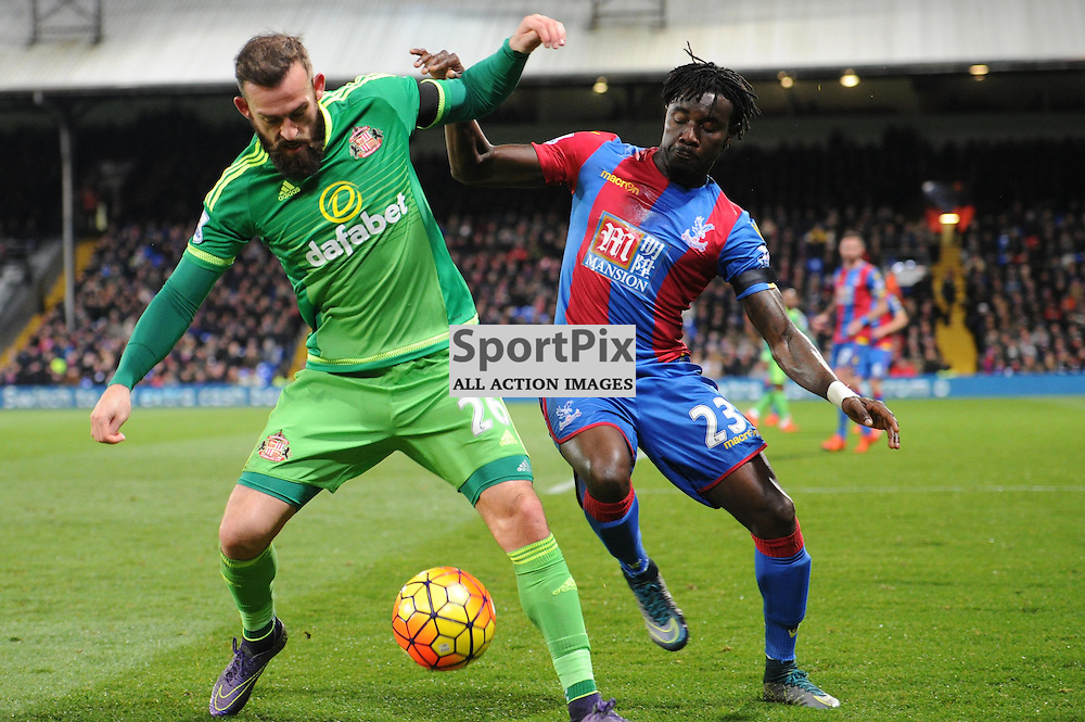 Crystal Palace's Pape Souare and Sunderland's Steven Flecter in action during Crystal Palaces clash with Sunderland in the Barclays Premier League at Selhurst Park