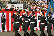 "October, 23, 2016, Asaka, Saitama Prefecture: Japanese Prime Minister Shinzo Abe proudly reviews his nation's military might during an annual review of the Japan Self Defense Force (JSDF), held at the Asaka Training Area on the outskirts of Tokyo. For this event, PM Abe, top ranking Japanese brass and international dignitaries were in attendance to view Japan's military prowess. This included 4000 troops, 27 divisions, 280 vehicles and artillery, plus 50 aircraft of the Ground, Air, and Maritime branches of the JSDF. Since the post WW II era, Japan has been a pacifist nation with it's constitution drafted by the Allied Occupation in 1947. But Since PM Shinzo Abe took office in 2012, he's had an agenda to revise the constitution which would permit Japan greater autonomy outside it's borders. In December 2013, Abe announced a five year plan of military expansion described as ""proactive pacifism"", with the goal of making Japan ""a more normal country"", able to defend itself. This was in reaction to China's buildup of it's military and territorial disputes with Japan, as well as a decreased American influence in the region. This is also a matter of national pride as Japan has been trying to wash away it's past aggressions of WW II. (Torin Boyd/Polaris)."