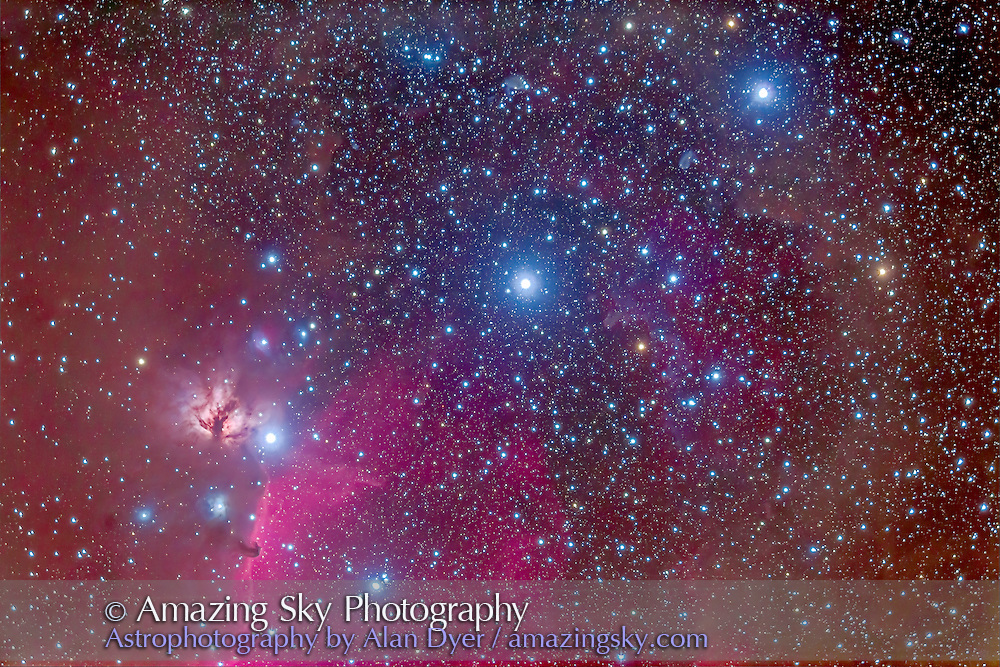 The Belt of Orion, enmeshed in nebulosity, emission and reflection, including the famous Horsehead Nebula at left below Zeta Orionis, aka Alnitak, and with NGC 2024 the Flame Nebula above Zeta. Numerous bits of dark and reflection nebulosity fill the area as well as a large cluster of blue stars, Collinder 70.
