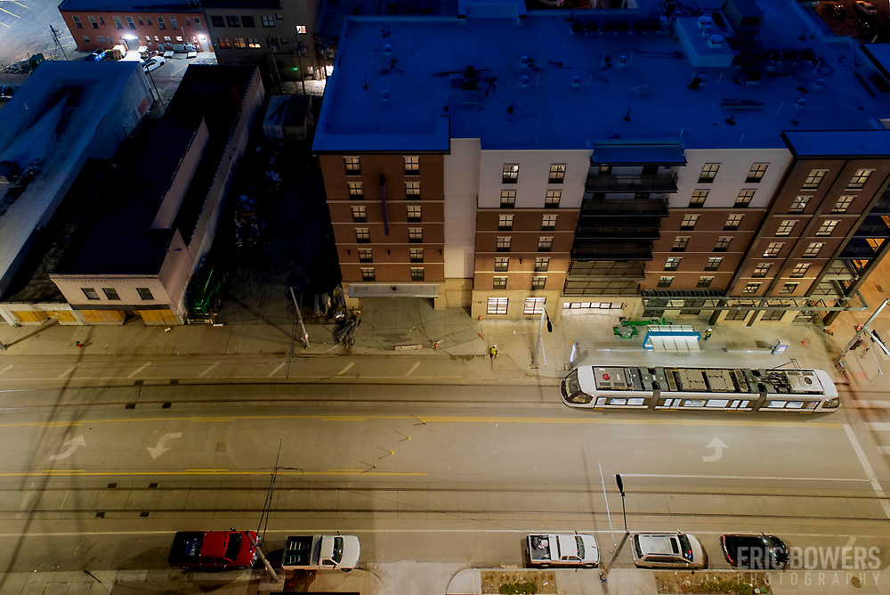 Pre-daybreak view of Kansas City, MO downtown Main Street near 16th & 17th Streets.