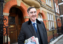 © Licensed to London News Pictures. 14/02/2019. London, UK. Brexiteer, JACOB REES-MOGG is seen leaving his London home in Westminster, on the day that MPs are due to take part in further debates and votes on Brexit. A series of amendments are being tabled to try to change the direction of Brexit, but a vote on a deal will not be held today as was originally planned. Photo credit: Ben Cawthra/LNP