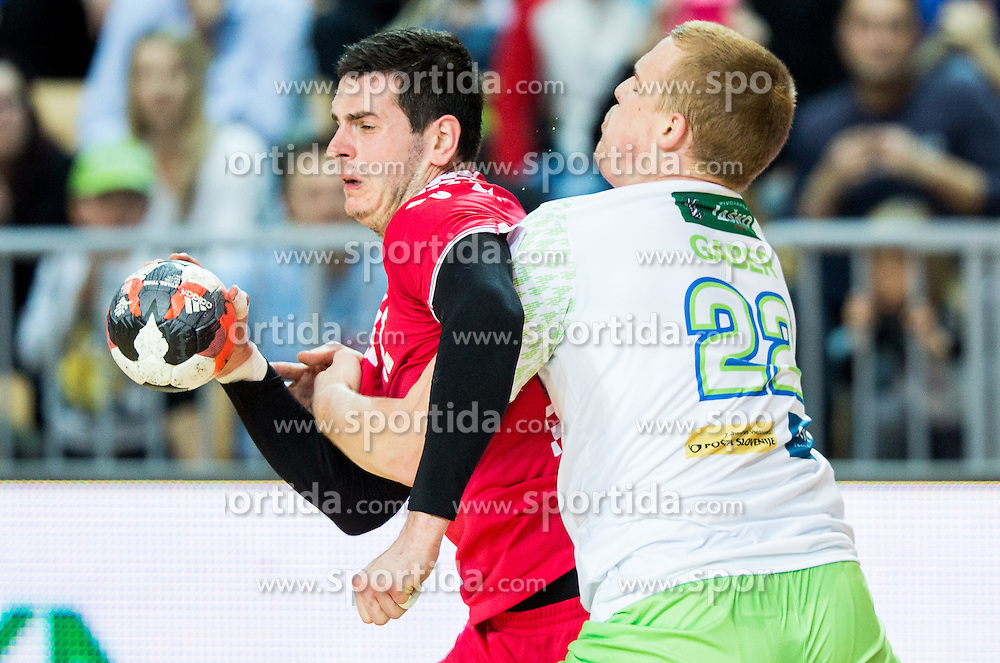 Ivan Sliskovic of Croatia vs Matej Gaber of Slovenia during friendly handball match between National teams of Slovenia and Croatia as preparation game for European Championship in Poland, on January 9, 2016 in Arena Bonifika, Koper, Slovenia. Photo by Vid Ponikvar / Sportida