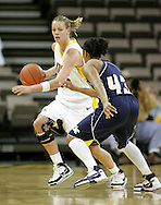 28 NOVEMBER 2007: Iowa forward Johanna Solverson (34) brings the ball down court while being guarded by Georgia Tech guard Chioma Nnamaka (43) in the first half of Georgia Tech's 76-57 win over Iowa in the Big Ten/ACC Challenge at Carver-Hawkeye Arena in Iowa City, Iowa on November 28, 2007.