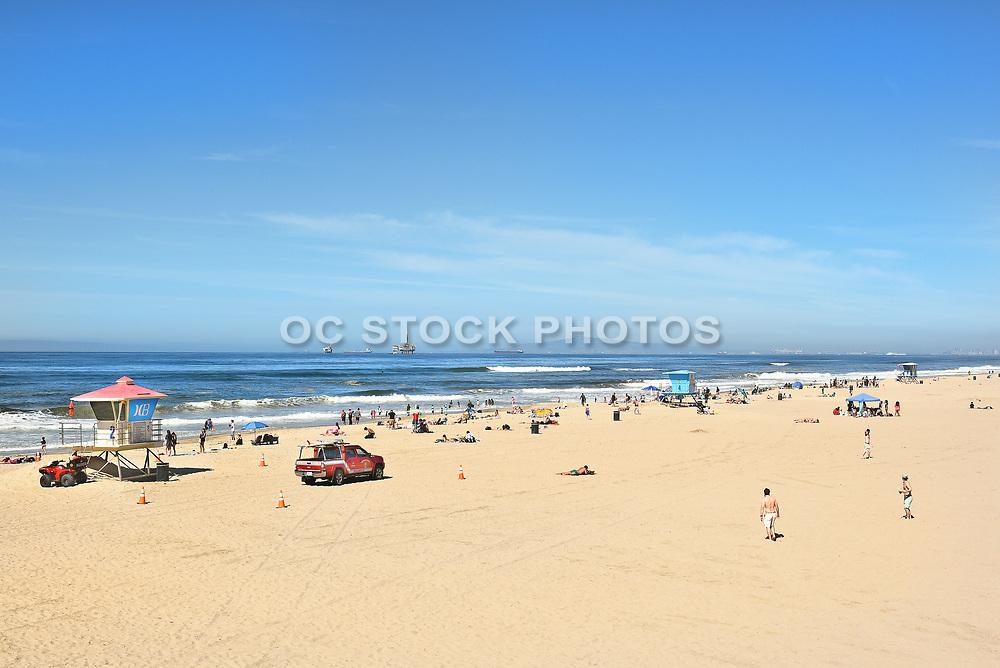 Huntington Beach Shoreline and Lifeguard Towers