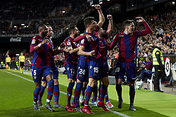 February 11, 2018 - Valencia, Valencia, Spain - Levante UD players celebrate a goal during the La Liga game between Valencia CF and Levante UD at Mestalla on February 11, 2018 in Valencia, Spain  (Credit Image: © David Aliaga/NurPhoto via ZUMA Press)