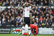 Derby County forward Darren Bent (11) buts the ball wide during the EFL Sky Bet Championship match between Derby County and Nottingham Forest at the iPro Stadium, Derby, England on 11 December 2016. Photo by Jon Hobley.