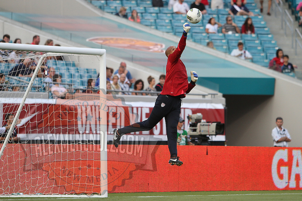 United States goalkeeper Tim Howard (1) warms up prior to an international friendly soccer match between Scotland and the United States at EverBank Field on Saturday, May 26, 2012 in Jacksonville, Florida.  The United States won the match 5-1 in front of 44,000 fans. (AP Photo/Alex Menendez)