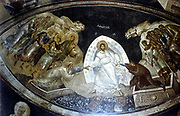 Anastasis, fresco in the parekklesion of Church of Christ in Chora (Kariye Museum)  Constantinople (Istanbu), Turkey (c.1310-1320). Christ, surrounded by mandorla, helps Adam and Eve from their graves watched by St John the Baptist and David and Solomon, left. On right are the righteous led by St Stephen, first Christian Martyr.