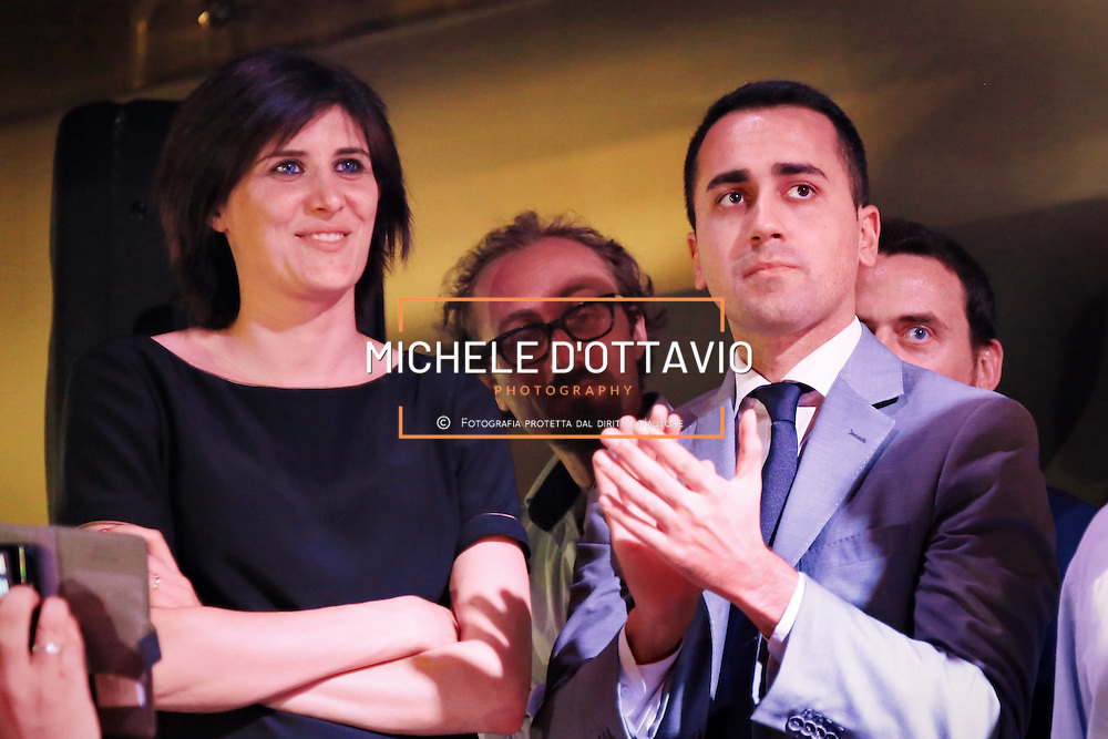 Torino 12 giugno 2016: <br /> Luigi Di Maio e Chiara Appendino alla festa di compleanno nel centro di Torino  della candidata sindaco del Movimento 5 Stelle