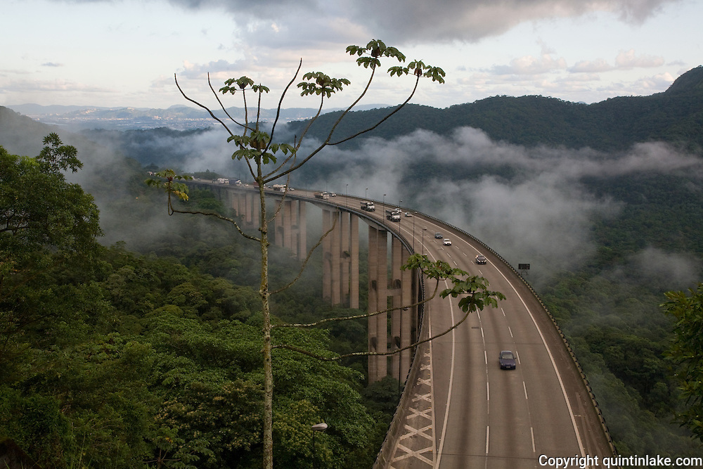 Motorway above the jungle on the approach to Cubatão