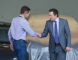 LONDON, ENGLAND - Saturday, June 7, 2014: CEO & Chief Product Architect Elon Musk hands over they keys to the UK's second customer of the Model S Andre deCort at the UK launch of Tesla Motors' Model S electric car at the Crystal. (Pic by David Rawcliffe/Propaganda)