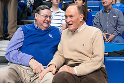 Former UK head coach Joe B. Hall, left talks with former LSU head coach Dale Brown during halftime. <br /> <br /> The University of Kentucky hosted the LSU Tigers, Saturday, March 05, 2016 at Rupp Arena in Lexington .